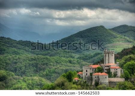 Medieval castle Rihemberk in Branik, Slovenia - stock photo