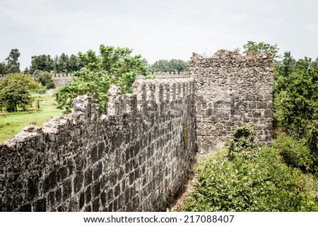 Medieval castle wall - stock photo
