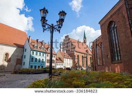 Medieval center street in the old Riga city, Latvia - stock photo