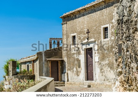 Medieval church below Taormina town. Sicily, Italy - stock photo