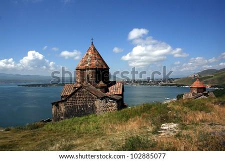 Medieval church on Sevan lake, Armenia - stock photo