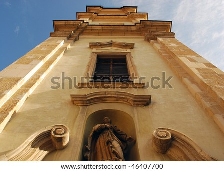 medieval church, tower - stock photo