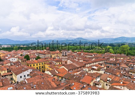 Medieval cityscape of Lucca, small town in Tuscany, Italy - stock photo