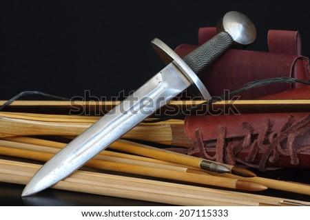 medieval dagger replica - stock photo