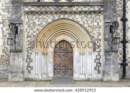 Medieval door - stock photo