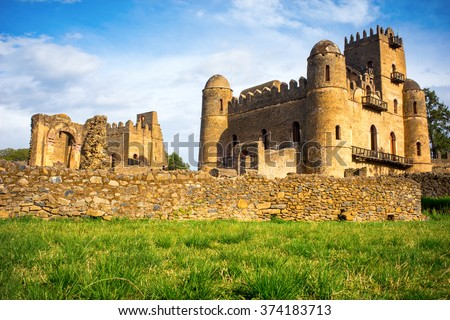 Medieval Fasilides Castle in Gondar, Ethiopia - stock photo