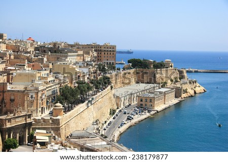 medieval fortified harbour in Valletta, Malta - stock photo