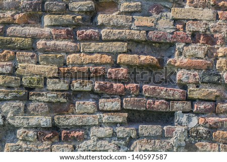 Medieval Fortress Antique Brick Rampart Detail - stock photo