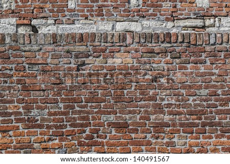 Medieval Fortress Antique Brick-Stone Rampart - stock photo