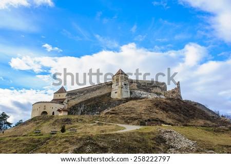 Medieval fortress in Rasnov, Transylvania, Brasov, Romania, December, 2014 - stock photo