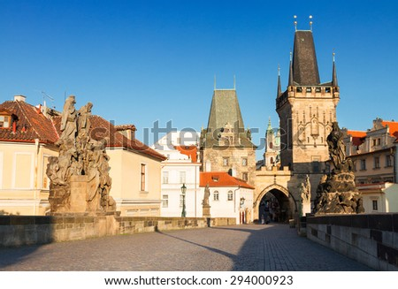 medieval Gate tower and Charles bridge at summer day, Prague, Czech Republic - stock photo