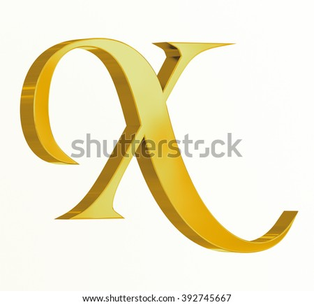Medieval golden letter X on white background - stock photo