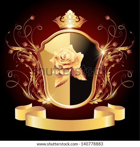 Medieval heraldic shield ornate golden ornament and crown. Raster version of vector. - stock photo