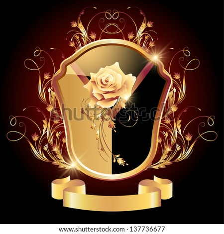 Medieval heraldic shield ornate golden ornament and rose - stock photo