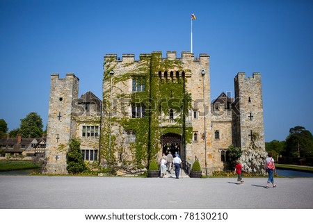 Medieval Hever Castle and gardens, Kent, UK. Located in the village of Hever in Kent near Edenbridge. The childhood home of Anne Boleyn, King Henry VIII's second wife. - stock photo