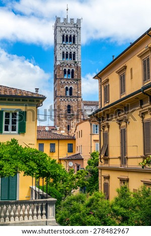 Medieval Italian town of Lucca - stock photo