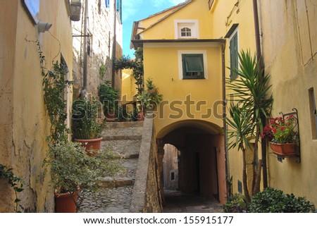 Medieval Italian Village, Cervo, Liguria, Italia - stock photo