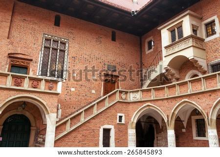 Medieval Jagiellonian University, Collegium Maius, Krakow, Poland - stock photo