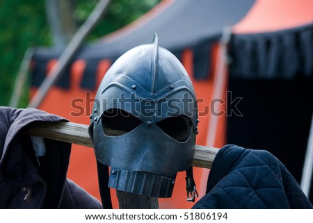 Medieval knight helmet - stock photo