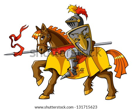 Medieval knight on horseback, preparing for joust or fight, hi-res raster from vector illustration - stock photo