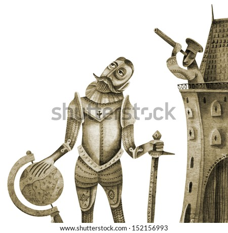 Medieval Knight with Globe. Illustration by Eugene Ivanov. - stock photo