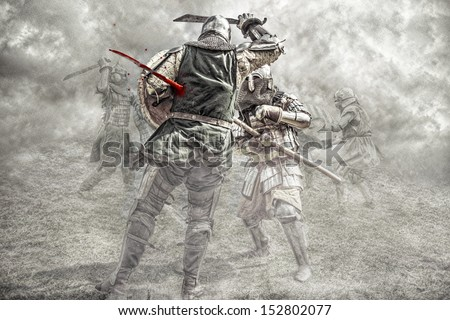 Medieval knights fighting in a battle - stock photo