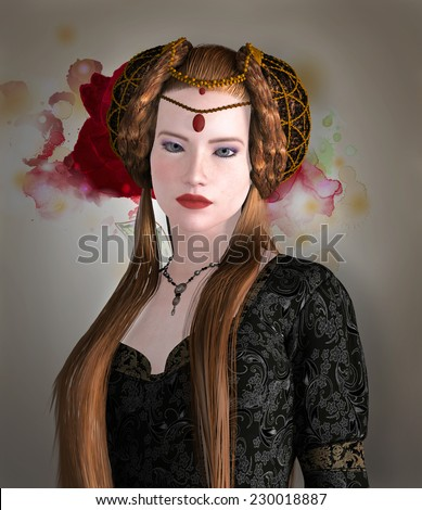 Medieval lady portrait - stock photo