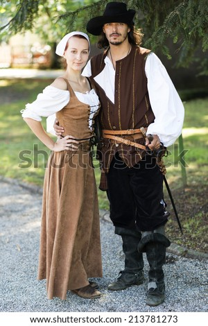 medieval love couple - stock photo