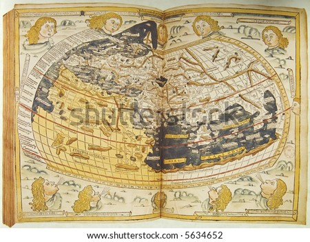 Medieval map of the world. Photo from old reproduction - stock photo