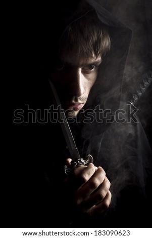 medieval misty monk - stock photo