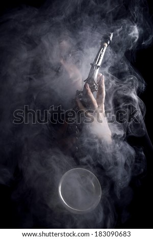 medieval misty musician - stock photo