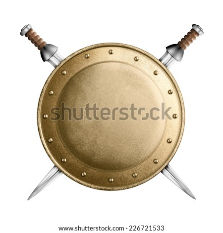 medieval old round metal shield with two swords isolated on white - stock photo