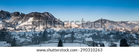 Medieval picturesque Slovenian town Skofja Loka in winter. - stock photo