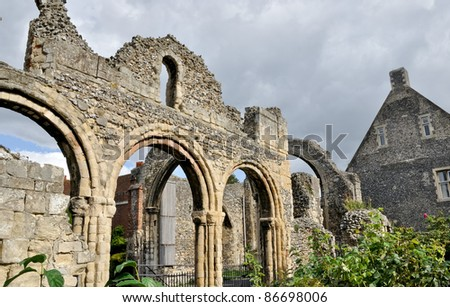 medieval ruins at Canterbury cathedral, UK - stock photo