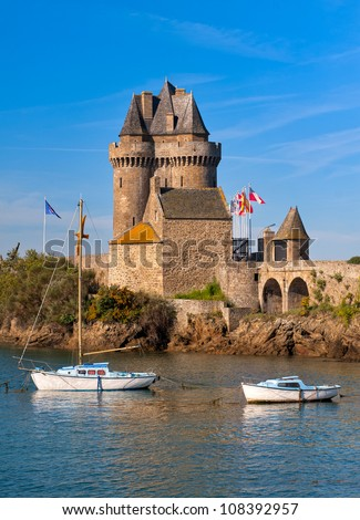 Medieval sea castle tower of Solidor in St Malo, Brittany, France - stock photo