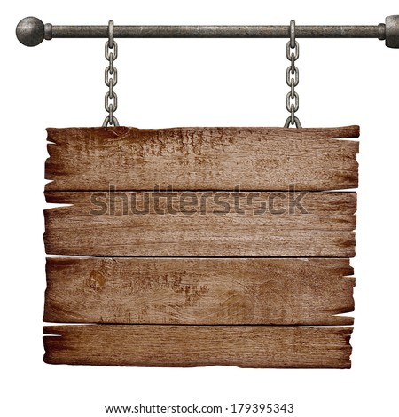 medieval signboard hanging on chain isolated on white - stock photo