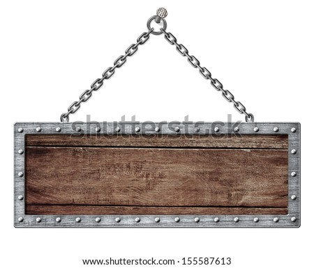 medieval signboard or shield hanging on chain isolated on white - stock photo