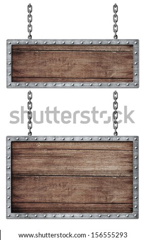 medieval signboards set with chains isolated on white - stock photo