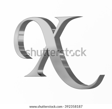 Medieval silver letter X on white background - stock photo