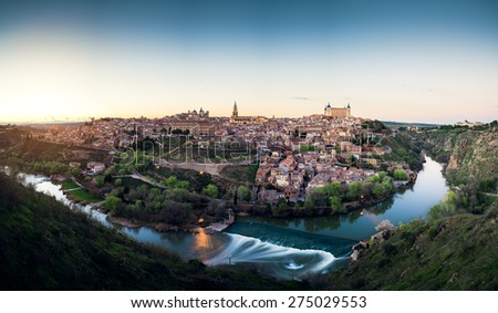 Medieval Spain - Toledo over sunset - stock photo