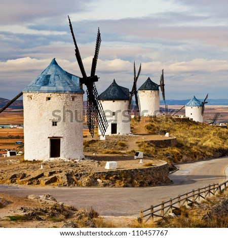 Medieval Spain - windmills in Consuegra - stock photo