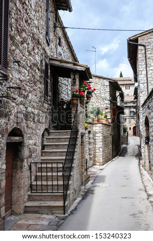 Medieval street in Assisi, Italy - stock photo