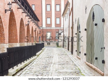 Medieval street in old Riga city - capital of Latvia, Europe - stock photo