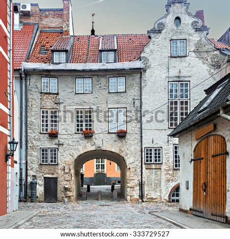 Medieval street in old Riga city, Latvia - stock photo