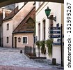 Medieval street in old town of Riga city, Latvia. In 2014, Riga is the European capital of culture - stock photo