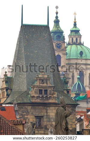 Medieval tower with Gothic architecture in overcast day, Prague, Czech Republic - stock photo