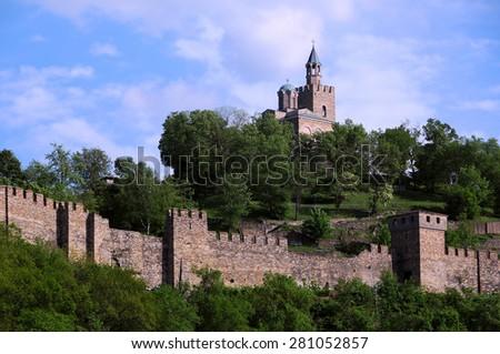 Medieval Tsarevets stronghold in the city of Veliko Tarnovo in Bulgaria in the spring - stock photo