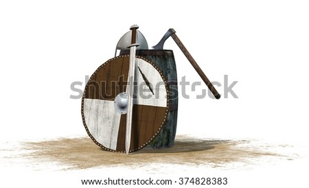 medieval viking weapons - sword, axe, shild  - stock photo