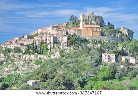 medieval  Village of Eze at french Riviera near Cannes and Monaco,South of France - stock photo