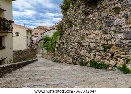 Medieval walls and stairs in Morella castle, the province of Castellon, Spain. - stock photo